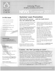 Front page of newsletter with auto loan offer.